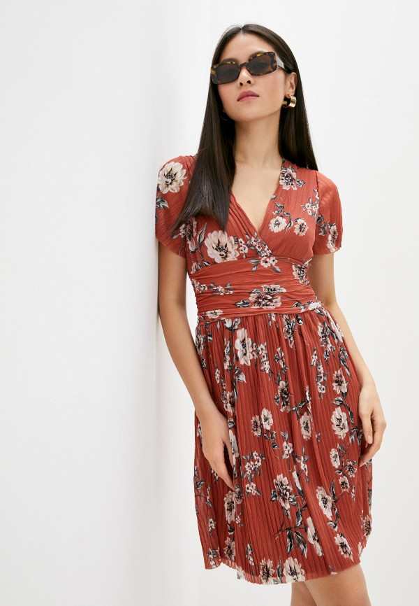 женское платье миди french connection, оранжевое