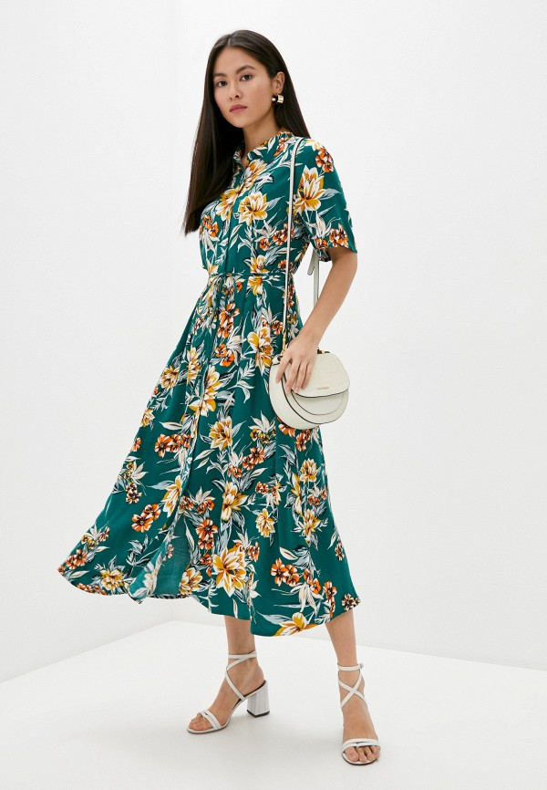 женское платье миди french connection, зеленое