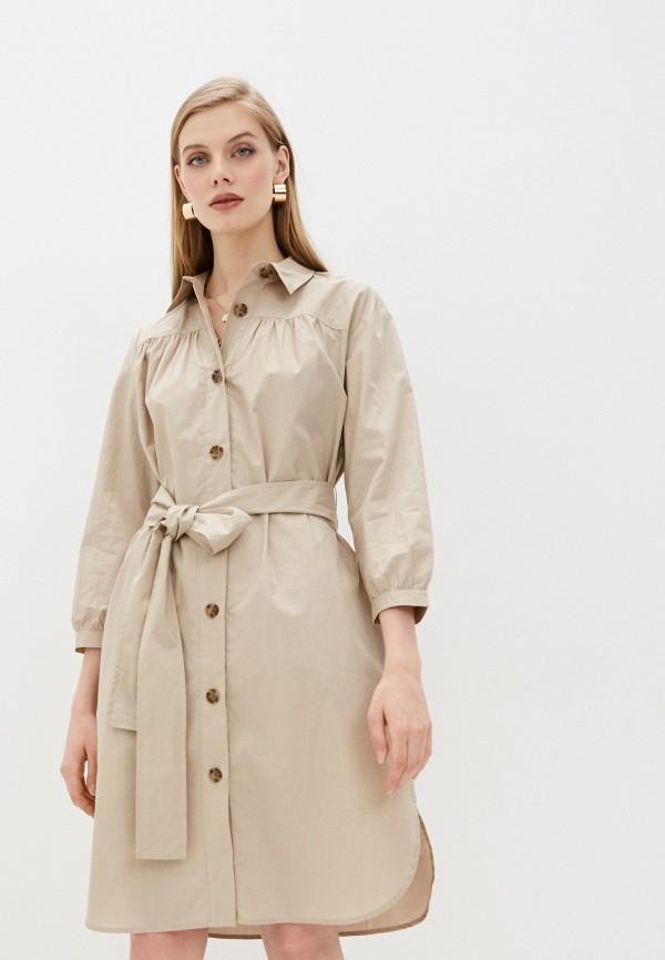 женское повседневные платье french connection, бежевое