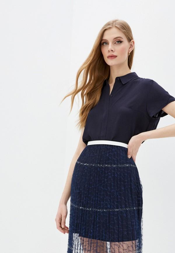 женская блузка с коротким рукавом french connection, синяя