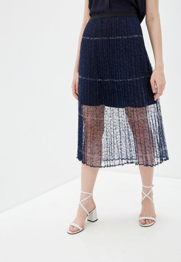 женская плиссированные юбка french connection, синяя