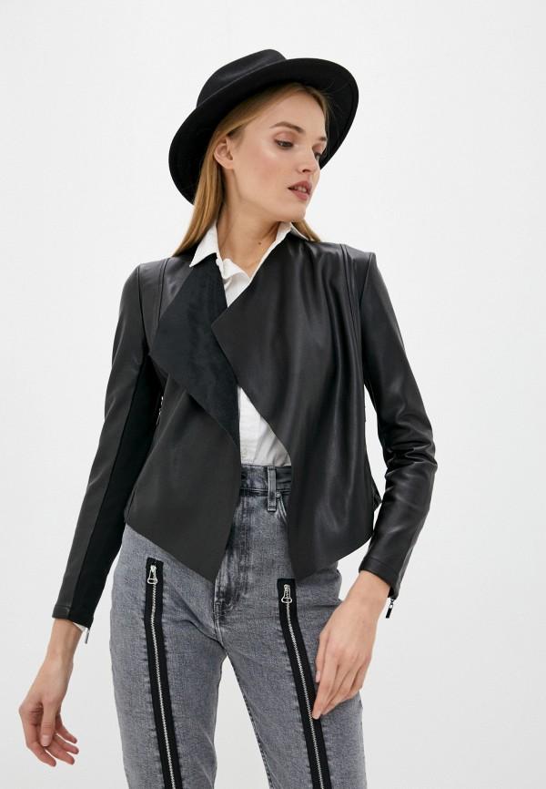 женская кожаные куртка french connection, черная