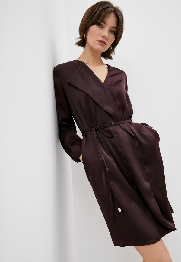 женское повседневные платье french connection, коричневое