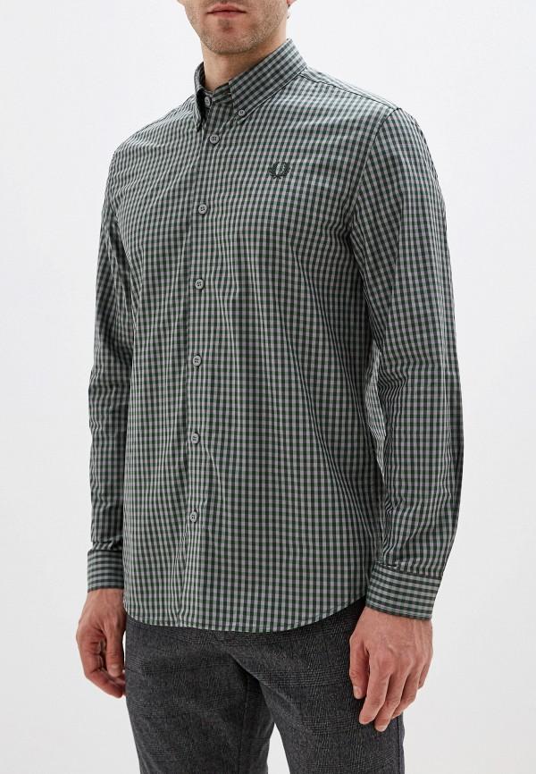 мужская рубашка с длинным рукавом fred perry, зеленая