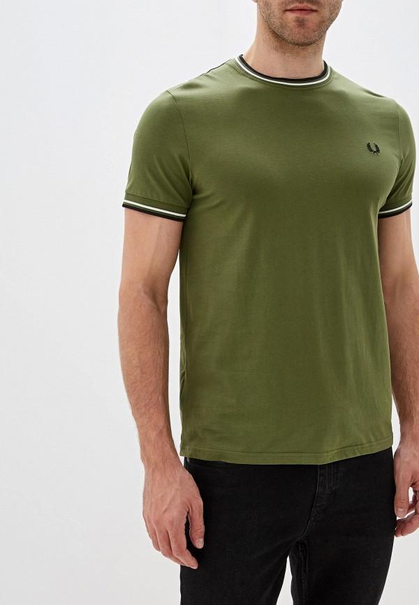 мужская футболка с коротким рукавом fred perry, хаки