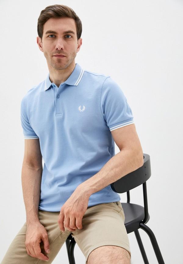 мужское поло fred perry, голубое