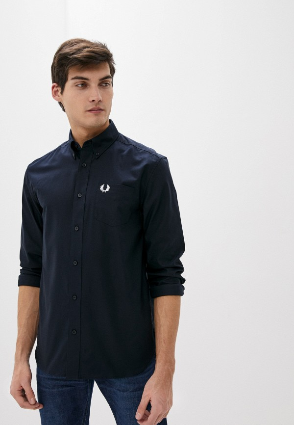 мужская рубашка с длинным рукавом fred perry, синяя