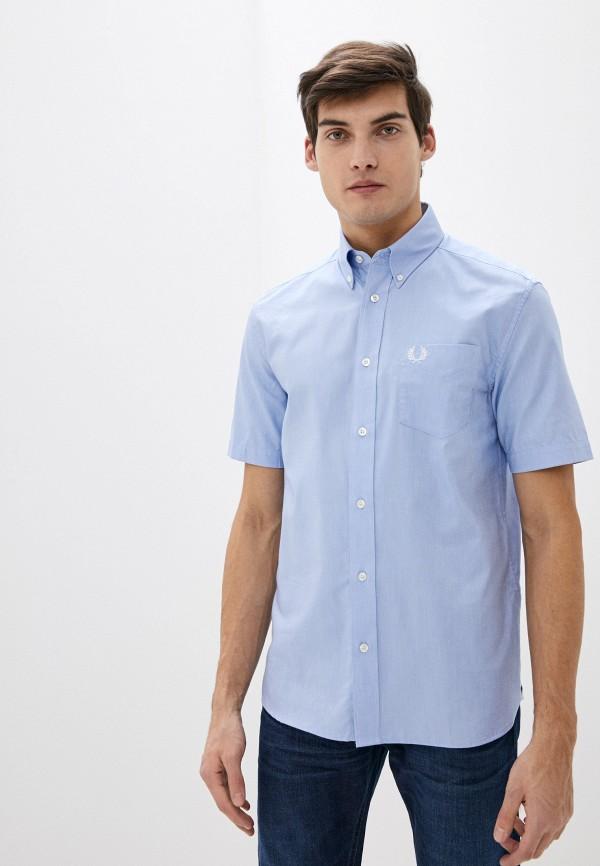 мужская рубашка с коротким рукавом fred perry, голубая