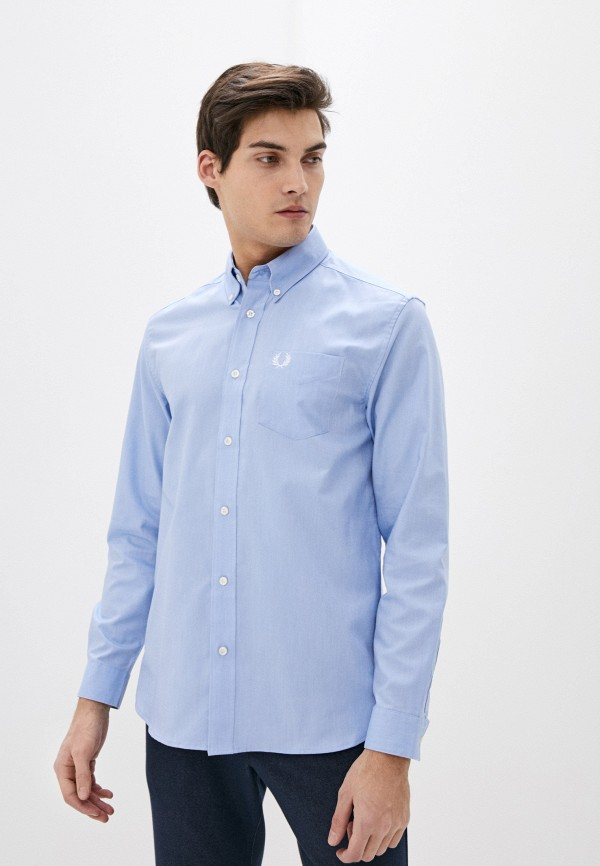 мужская рубашка с длинным рукавом fred perry, голубая