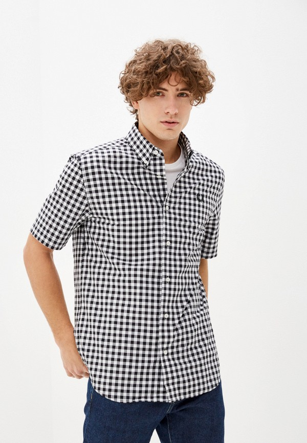 мужская рубашка с коротким рукавом fred perry, серая
