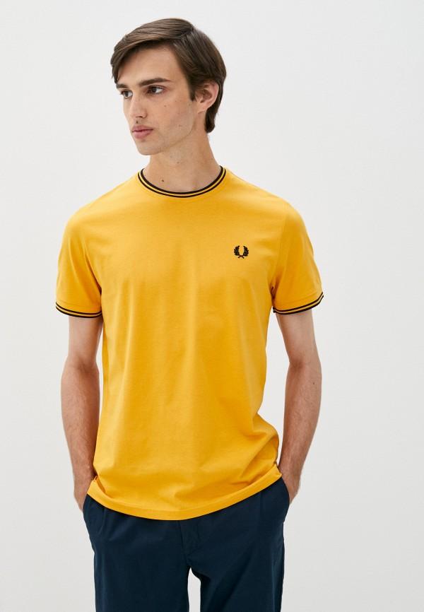 мужская футболка с коротким рукавом fred perry, желтая