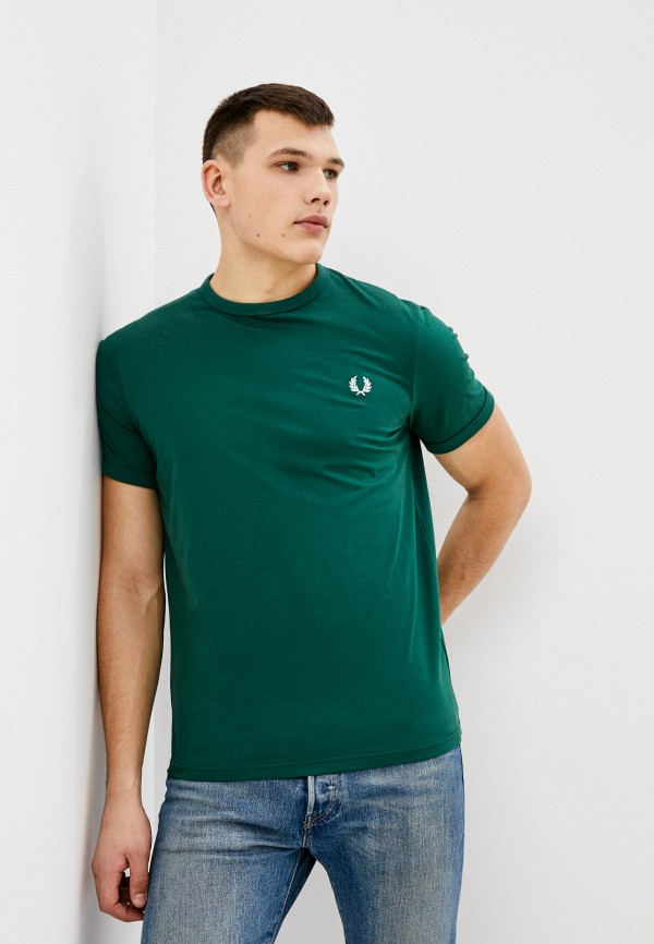 мужская футболка с коротким рукавом fred perry, зеленая