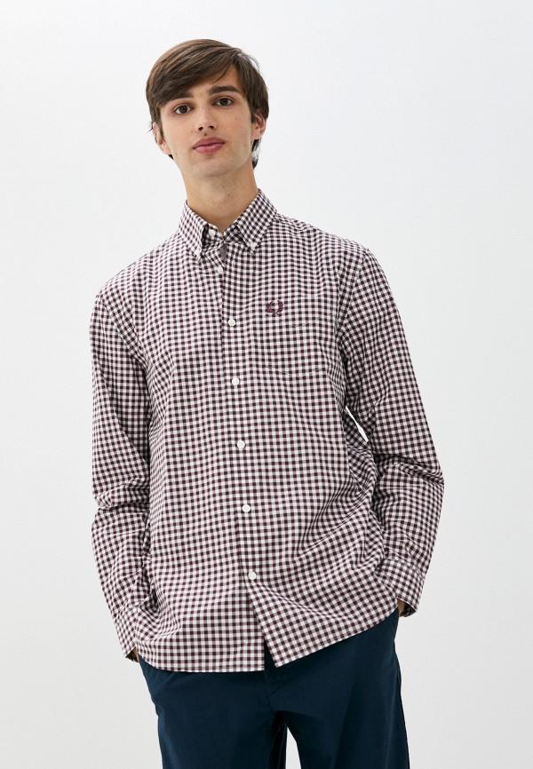 мужская рубашка с длинным рукавом fred perry, бордовая