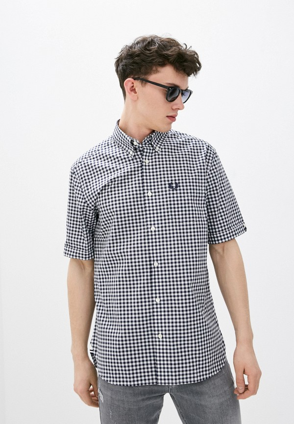 мужская рубашка с коротким рукавом fred perry, синяя