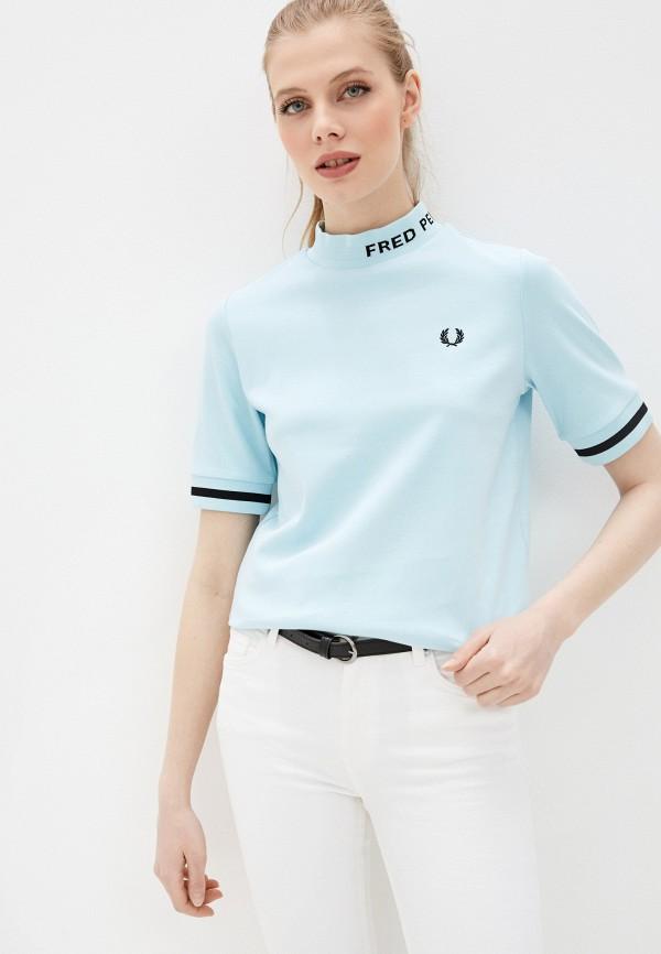 женская футболка fred perry, голубая