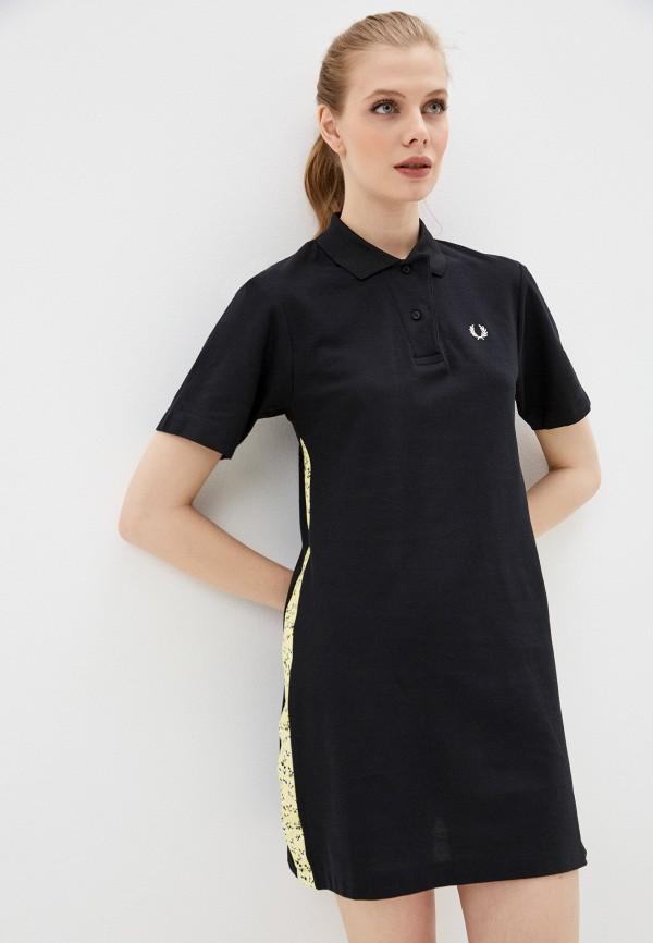 женское платье-футболки fred perry, черное