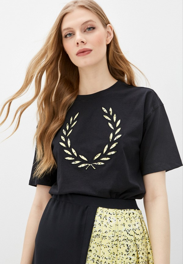женская футболка fred perry, черная