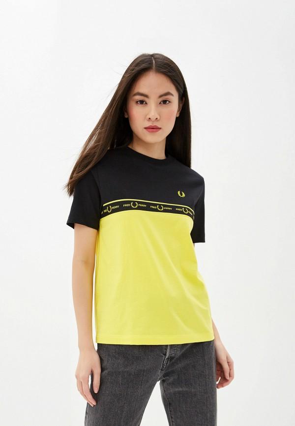женская футболка fred perry, желтая