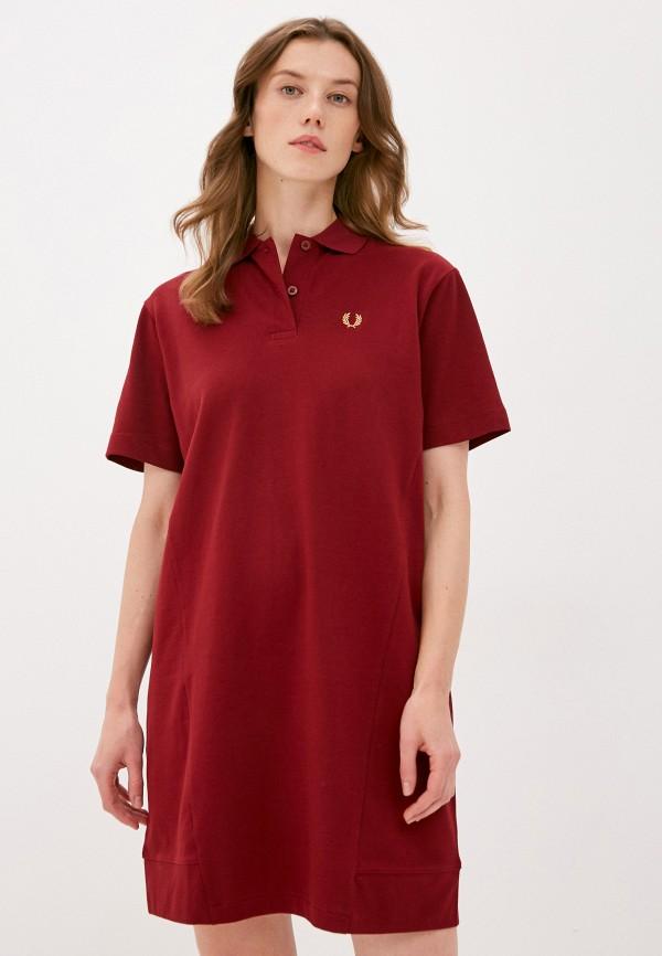 женское платье fred perry, бордовое