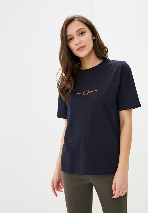 женская футболка fred perry, синяя
