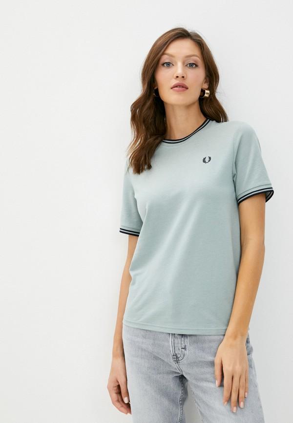 женская футболка fred perry, зеленая