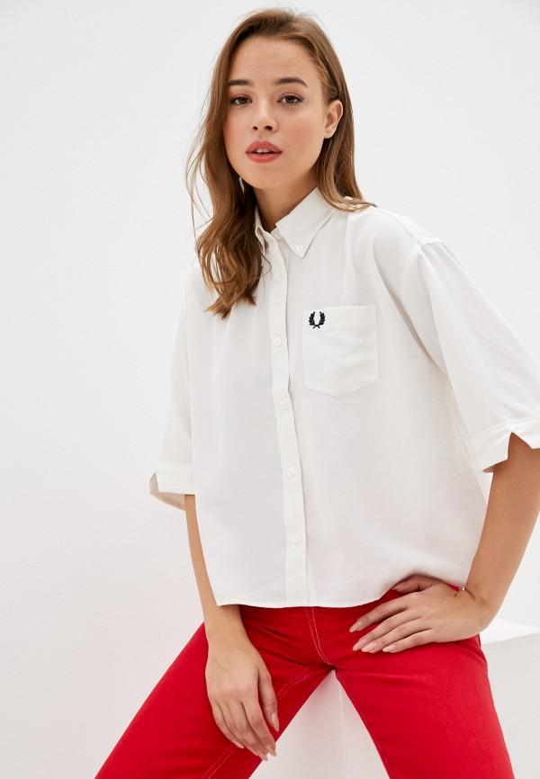 женская рубашка с коротким рукавом fred perry, белая