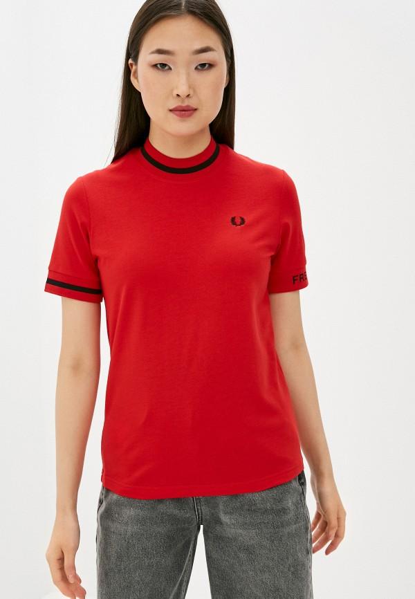 женская футболка fred perry, красная