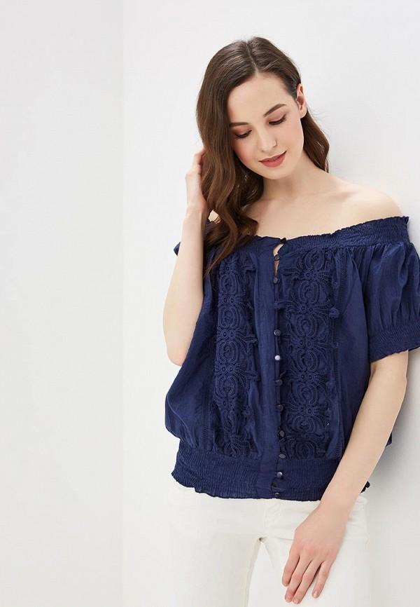 женская блузка fresh cotton, синяя