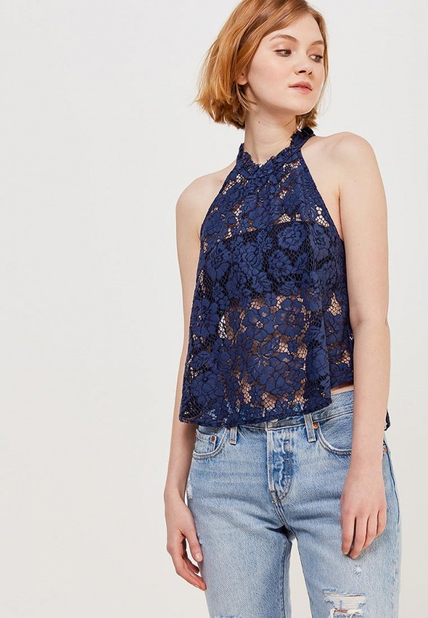 женская блузка free people, синяя