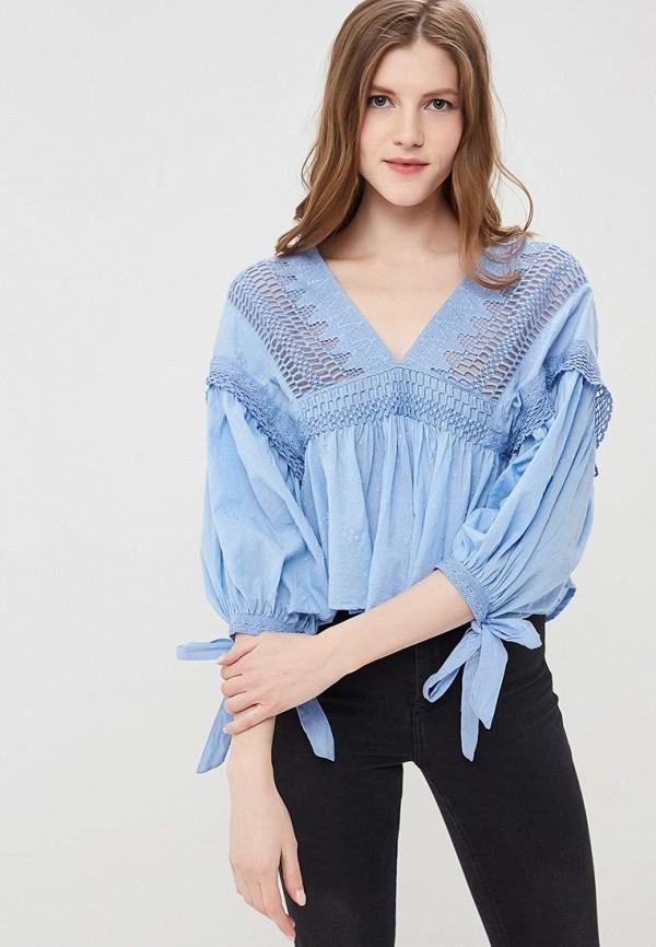 женская блузка free people, голубая