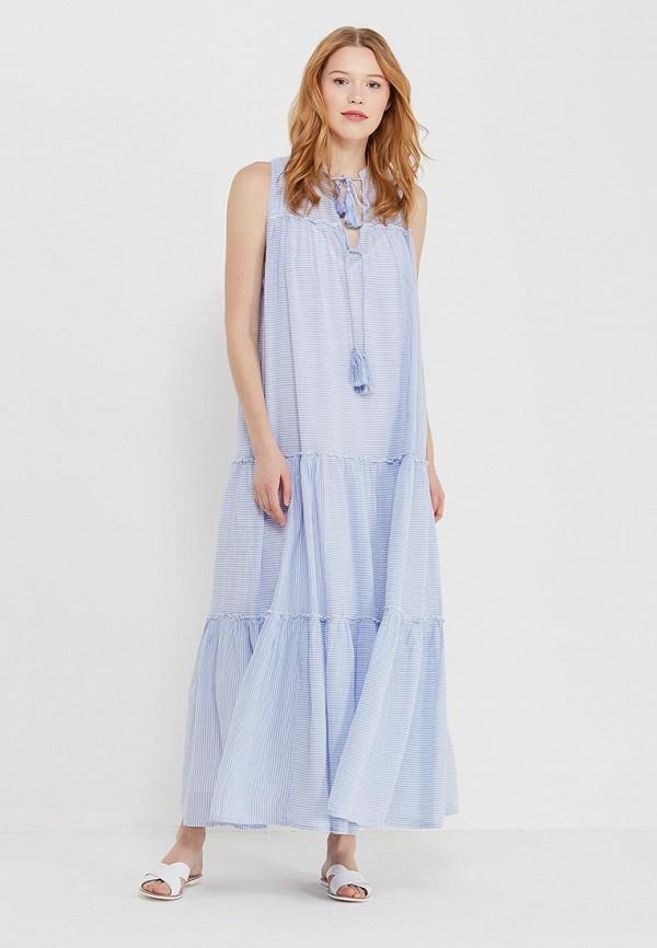 женское повседневные платье free people, голубое