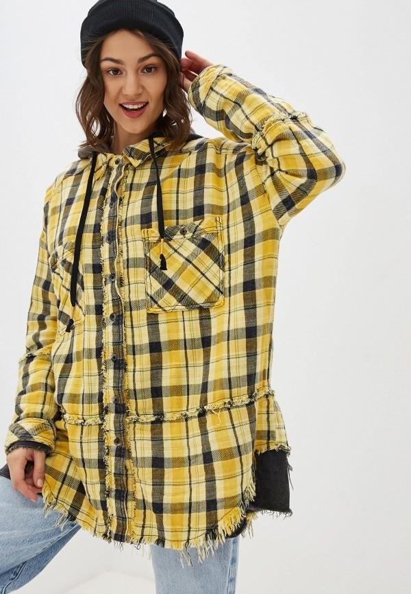 женская рубашка с длинным рукавом free people, желтая