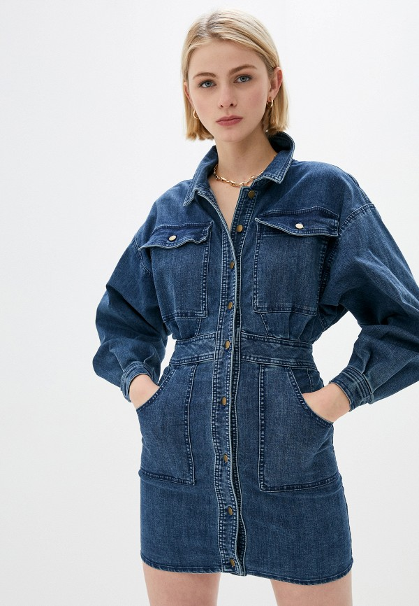женское джинсовые платье free people, синее