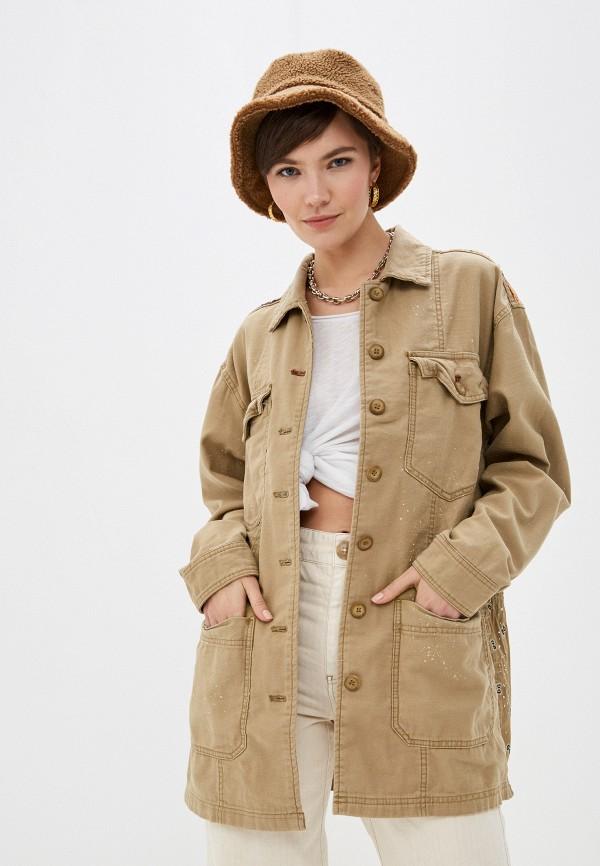 женская куртка free people, бежевая