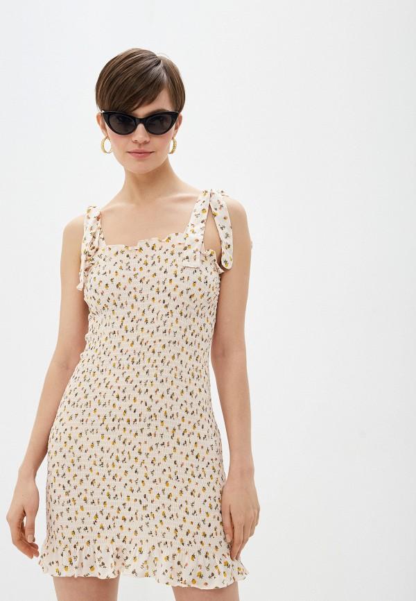женское повседневные платье free people, бежевое