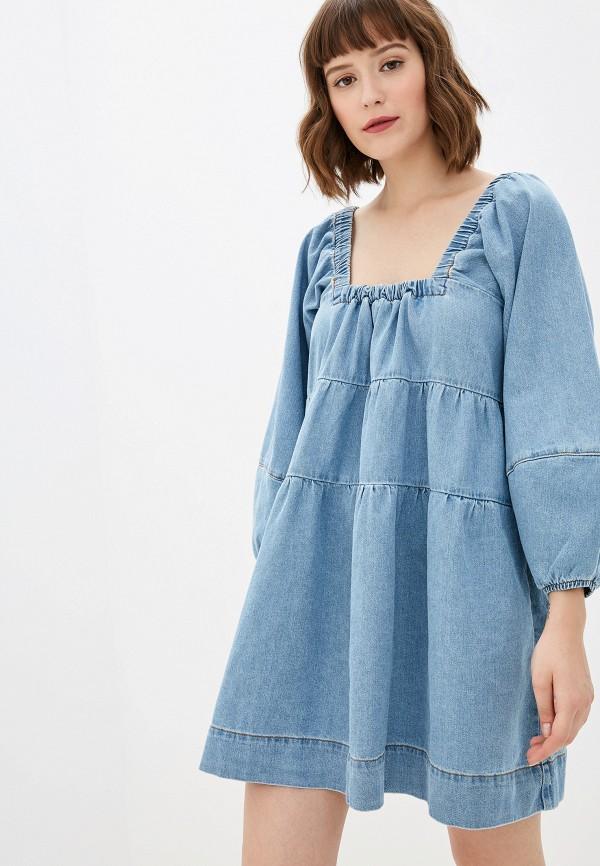 женское джинсовые платье free people, голубое