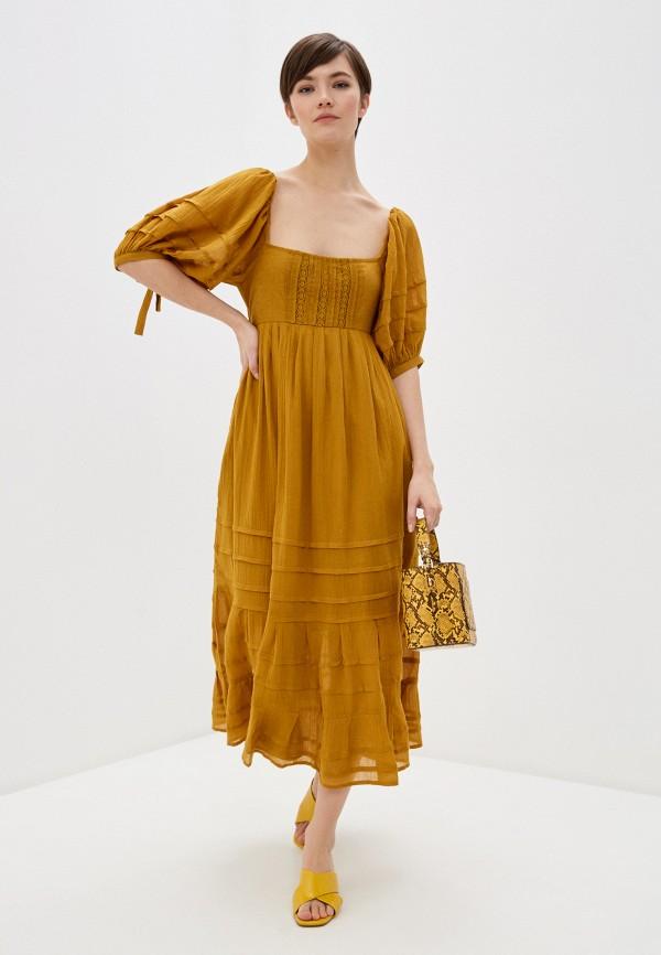 женское повседневные платье free people, коричневое