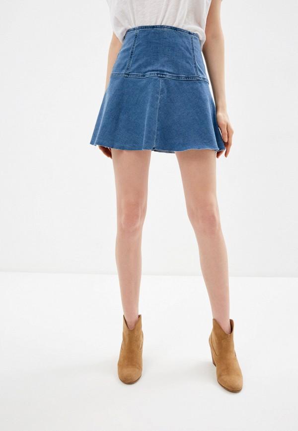 женская джинсовые юбка free people, синяя
