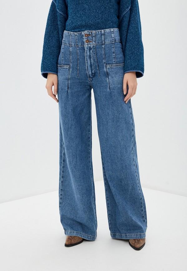 женские джинсы клеш free people, синие