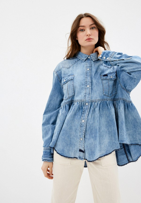 женская джинсовые рубашка free people, синяя