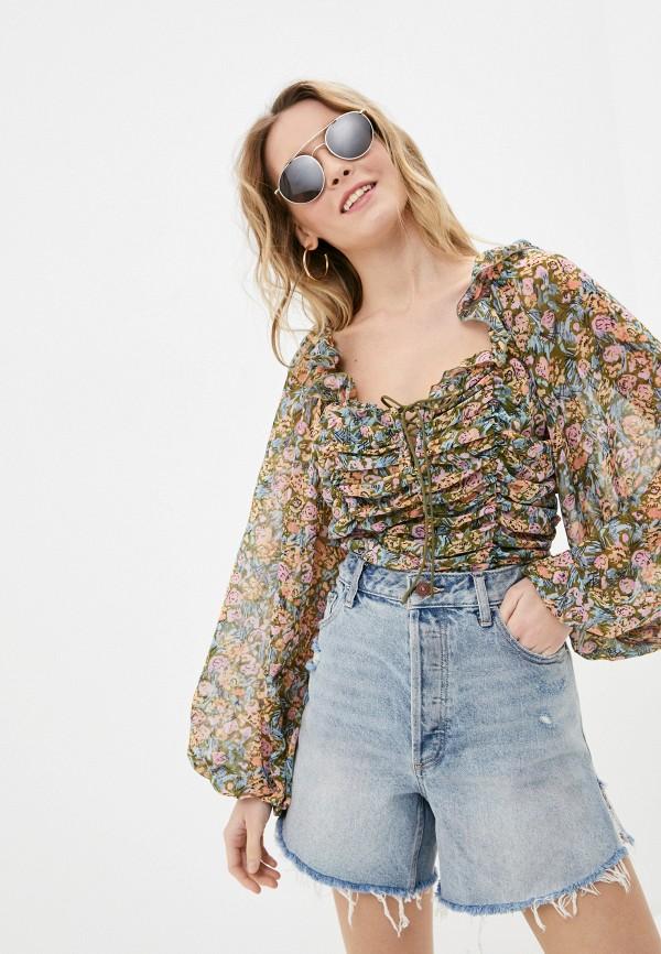 женская блузка free people, разноцветная