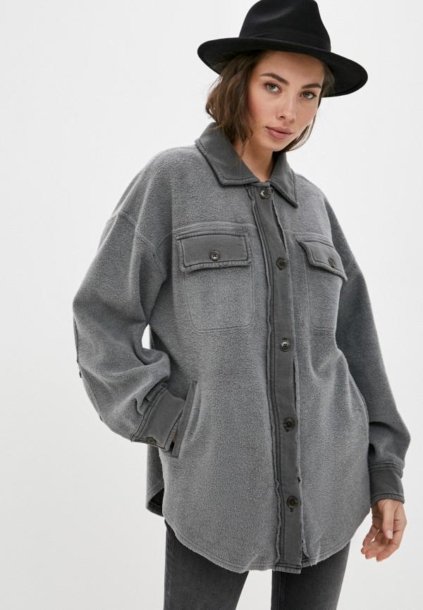 женская рубашка с длинным рукавом free people, серая