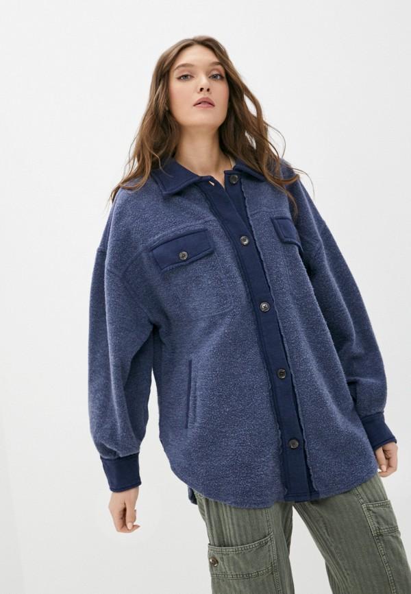 женская рубашка с длинным рукавом free people, синяя