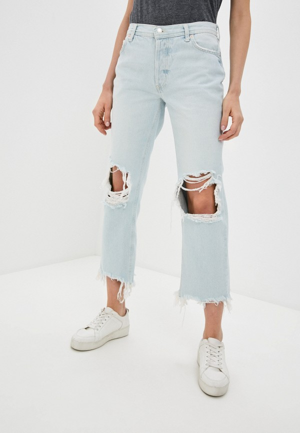 женские прямые джинсы free people, голубые