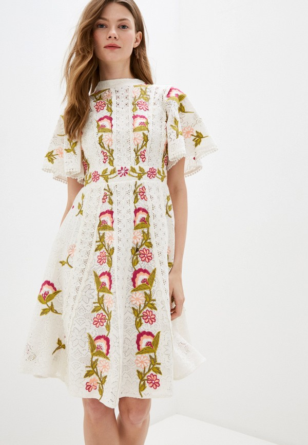 женское повседневные платье frock and frill, белое