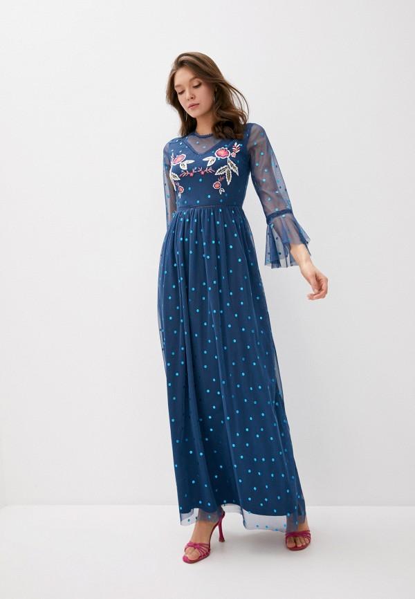 женское повседневные платье frock and frill, синее
