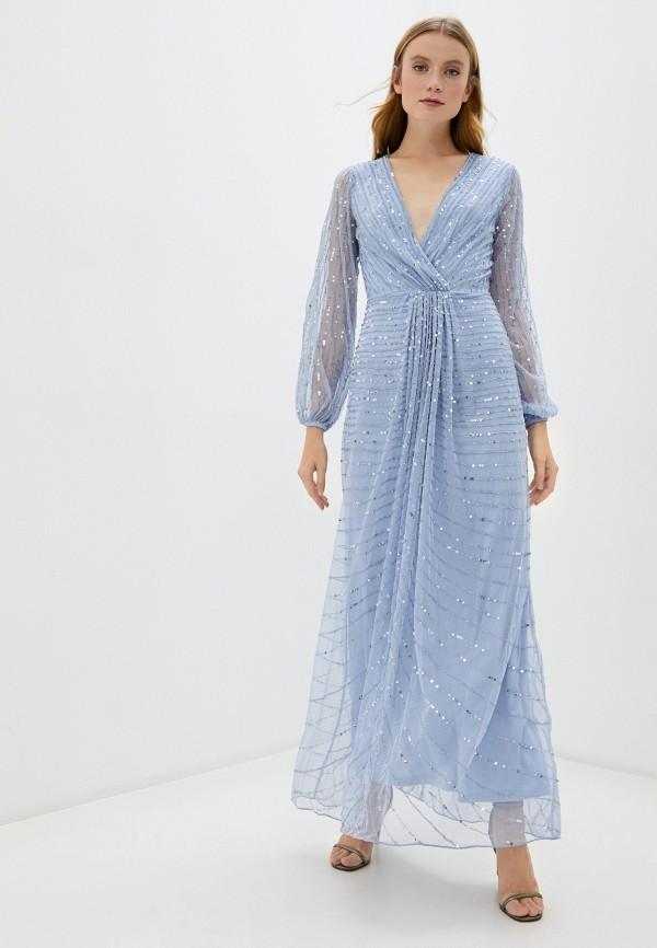 женское вечерние платье frock and frill, голубое