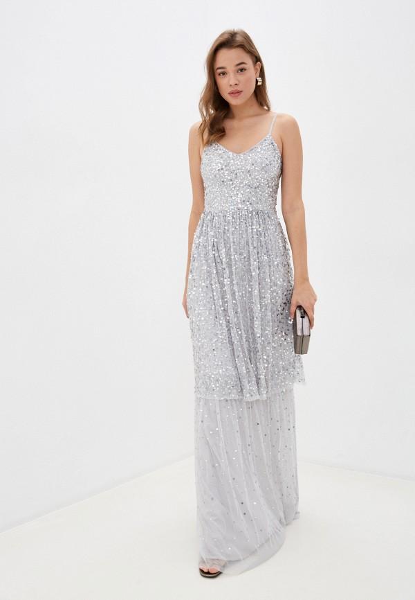 женское платье frock and frill, серебряное