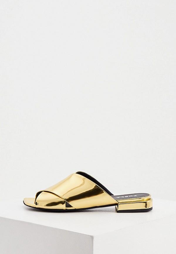женское сабо furla, золотое
