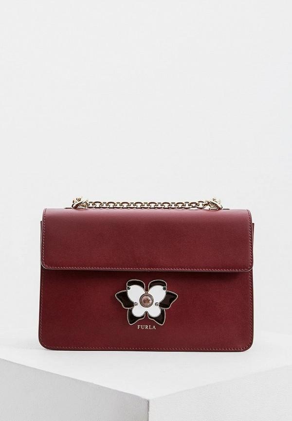 женская сумка furla, бордовая